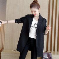 2017秋季新款韩版中长款修身黑色西服休闲外套小西装大码女装17XY9209