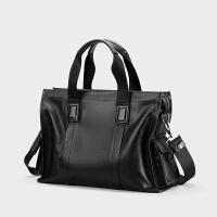 男士包包大容量商务手提包男新款男土牛皮旅行韩版简约超大 黑色