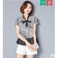 拼接下摆时尚气质短袖韩版花色荷叶边上衣女T恤雪纺打底衫
