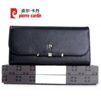 皮尔卡丹 2017新款 女士钱包头层牛皮时尚欧美潮流钱夹长款大容量手包PDC697121A黑色