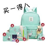 韩版学生双肩包女童包包中学生小学生中休闲帆布学生书包旅行包背包潮