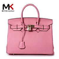 莫尔克(MERKEL)欧美新款铂金包头层牛皮女包单肩手提包包时尚潮流凯莉包荔枝纹牛皮女包