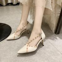 凉鞋2019新款欧美细跟高跟鞋时尚尖头柳钉凉鞋女凉鞋女仙女风凉鞋