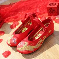 秀禾鞋女18新款中式坡跟新娘鞋上轿鞋牛筋底红色绣花布鞋婚鞋婚礼 2019凤舞九天