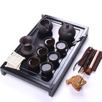 茶具套装整套功夫茶具套装紫砂茶具茶壶实木茶盘 黑整板有余圣龙10头紫砂套装