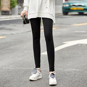【到手价:64.9元】Amii极简气质超火显瘦打底裤女2019春黑色印花修身显瘦打底裤
