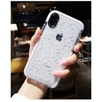 苹果X手机壳新款iphoneXsMax高档8plus全包防摔7p网红女款6s硅胶软套iPhone x 透明白色菱格【