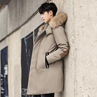 战地吉普男士羽绒服冬装新款加厚连帽修身中款羽绒服男韩青年时尚休闲大毛领外套