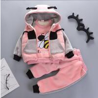 男宝宝冬装套装小童冬季衣服帅气男童三件套潮