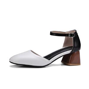 O'SHELL欧希尔夏季上新009-C10韩版粗跟高跟女士凉鞋