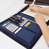 商务A4皮质文件夹拉链包 事务包 高档多功能销售夹 销讲资料夹经理夹带计算器