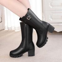 靴子女冬粗根中根中筒靴女加绒厚底高筒靴雪地靴女妈妈鞋长筒靴女 黑色单里 (薄绒)