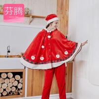 芬腾珊瑚绒睡衣女秋冬季新款长袖开衫大红宽松长裤休闲连帽家居服套装 大红