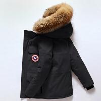 吉普盾时尚保暖北美风格羽绒服男潮短款新款冬季大鹅帅气加厚学生工装情侣外套