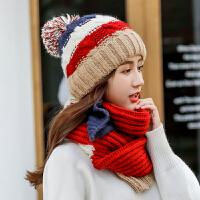 帽子女冬天可爱毛线帽冬季保暖针织帽护耳围巾一体