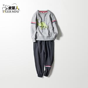 男童纯棉长袖运动套装儿童恐龙图案春装两件套2018小虎宝儿童装潮