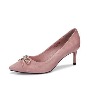 Camel/骆驼女鞋 2018春季新品 甜美尖头单鞋 蝴蝶结细跟高跟鞋女