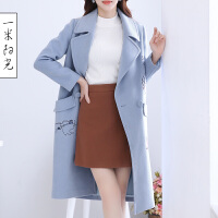 一米阳光2017春款韩版刺绣毛呢大衣女中长款毛呢外套