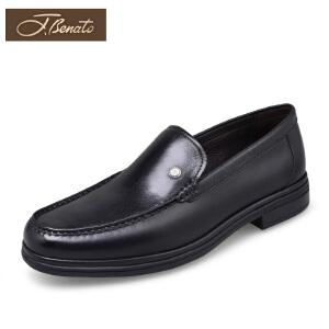 宾度男鞋商务休闲鞋袋鼠皮套脚鞋新品冬季英伦中年男士皮鞋