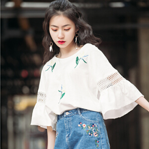 韩国ulzzang原宿风BF宽松短袖T恤女韩版学生七分袖