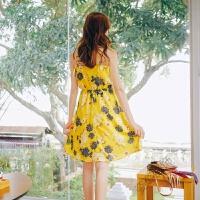 夏波西米亚度假沙滩裙印花v领吊带连衣裙松紧收腰中长裙