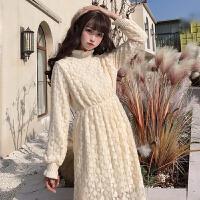 配大衣的长裙子女秋冬新款韩版加绒宽松中长款蕾丝长袖连衣裙