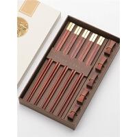 檀木筷子礼盒套装定制红木筷子家用分人专用筷子家庭装