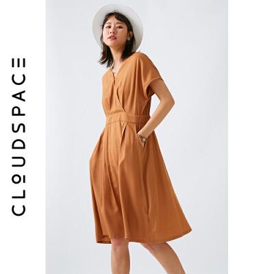 【2件8折/3件75折】云上生活2019夏新款短袖V领裙子纯色中长款收腰连衣裙女L0529