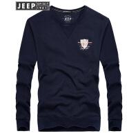 JEEP吉普卫衣男2018秋冬季新款圆领打底衫男士印花休闲套头上衣外套男