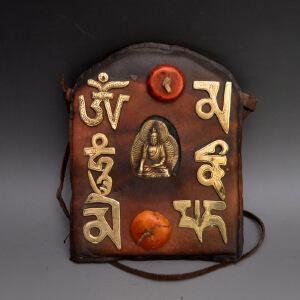 牛皮精品藏文藏佛神龛收藏品