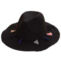 礼帽女秋冬天黑色爵士帽流苏毛呢帽子遮阳毛毡帽复古帽