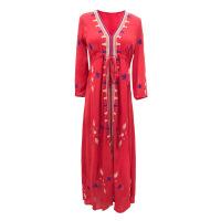 民族风连衣裙2018春新款海边度假红色长裙显瘦泰国巴厘岛沙滩裙女