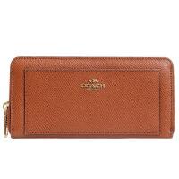 【9.9新】COACH 女款棕色皮革长款钱包