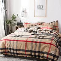 北欧风四件套床笠全棉纯棉床上用品网红款被套宿舍床单人3三件套4 2.0m床:被套220*240cm 床单245*2
