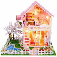 樱花树下diy小屋手工制作小房子模型拼装别墅大型创意女生