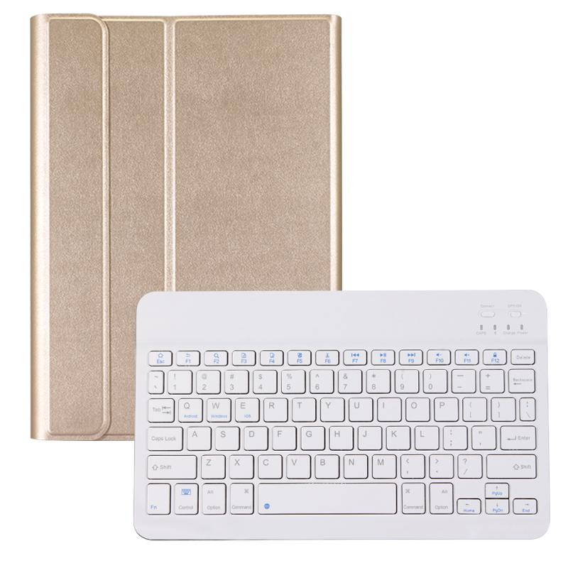 苹果ipad4蓝牙键盘保护套全包边ipad2外壳爱拍的ipad3平板壳a1458老款ip 老款ipad234 金色+白键盘