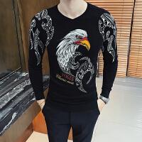 2017秋冬季圆领针织衫发型师韩版个性花毛衣青年潮流修身毛衣男士
