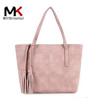 莫尔克(MERKEL)包包2018新款时尚女包托特包休闲百搭单肩大包流苏包挂饰简约手提大包