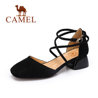 Camel/骆驼单鞋 春夏季新款低帮女鞋 优雅舒适性感绑带中跟方头鞋子