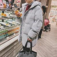 棉衣男士外套中长款韩版潮流冬季面包服加厚棉袄男2018新款 灰色 S