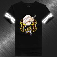 海贼王Q版动漫周边短袖T恤反光 男衣服宽松休闲上衣