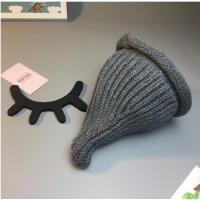 宝宝套头帽秋冬婴儿男女童帽子保暖帽儿童皇冠奶嘴针织毛线帽