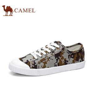 骆驼牌 男鞋 新款低帮迷彩帆布鞋舒适韩版平底休闲鞋