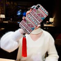 浮雕民族风xr苹果x手机壳8plus文艺流苏吊坠7p硅胶全包边防摔软套iPhone xs max复古 红色系 XR