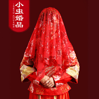 婚庆用品喜庆中式 新娘红盖头蕾丝喜帕 金丝玫瑰流苏结婚红头纱