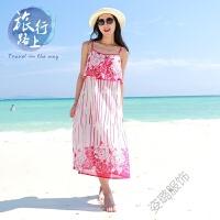夏季海边度假沙滩裙波西米亚交叉吊带连衣裙宽松中长款裙 玫红色