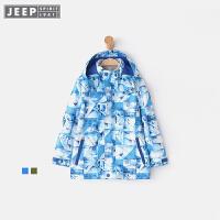 【618大促-每满100减50】JEEP童装 男童三合一冲锋衣中大儿童可脱卸梭织外套户外运动秋装