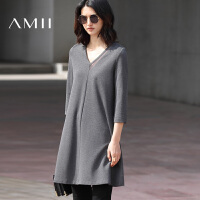 Amii[极简主义]2017秋新品拼接V领七分袖大码短连衣裙女11720221