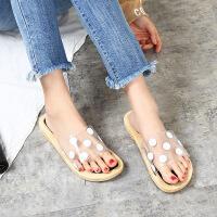 凉拖 女士可爱圆点室内拖鞋2020夏季新款韩版时尚防滑软底浴室平底女式鞋子