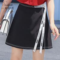 包臀高腰半身裙女夏2017新款韩版百搭黑色A字裙 收腰显瘦时尚短裙